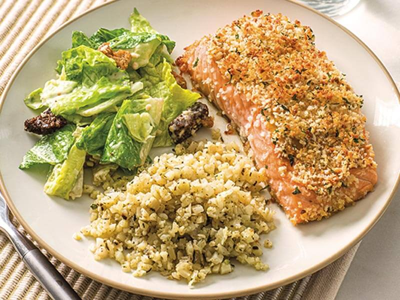 Horseradish Salmon with Caesar Salad Kit and Cauliflower Rice