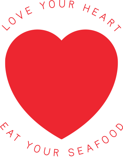 Love your heart, Eat your seafood logo