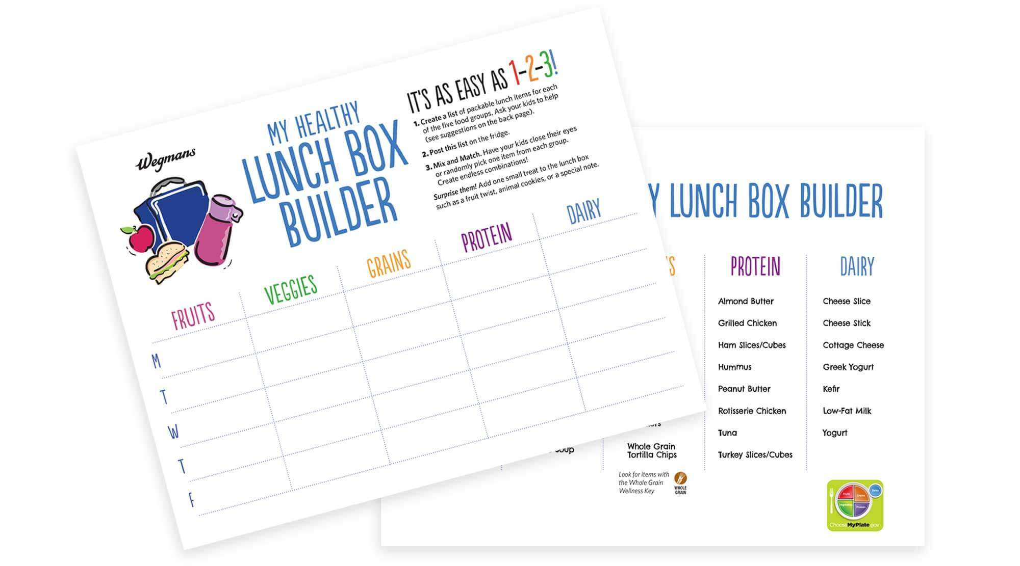 Lunch Box Builder Activity Sheet