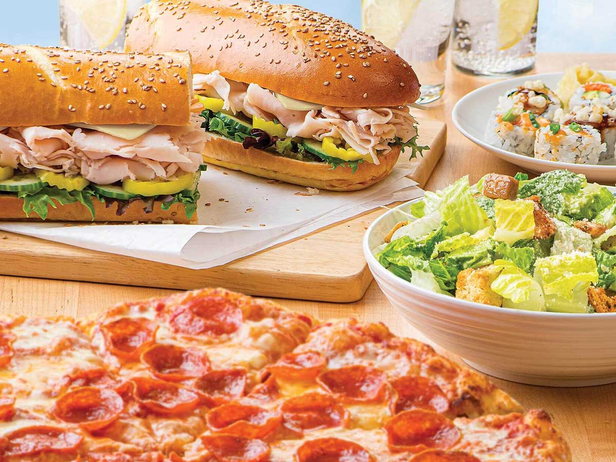 m2go pizza, subs, salad, and sushi