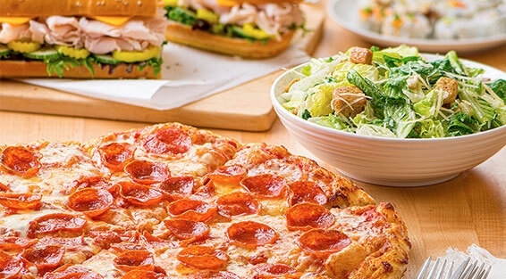 Pizza, salad, subs, and sushi ordered from Meals 2GO