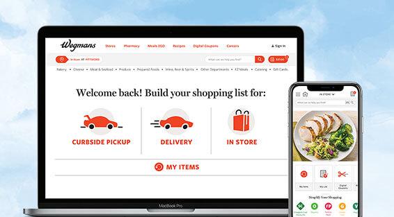 Image of The Wegmans website and the Wegmans App