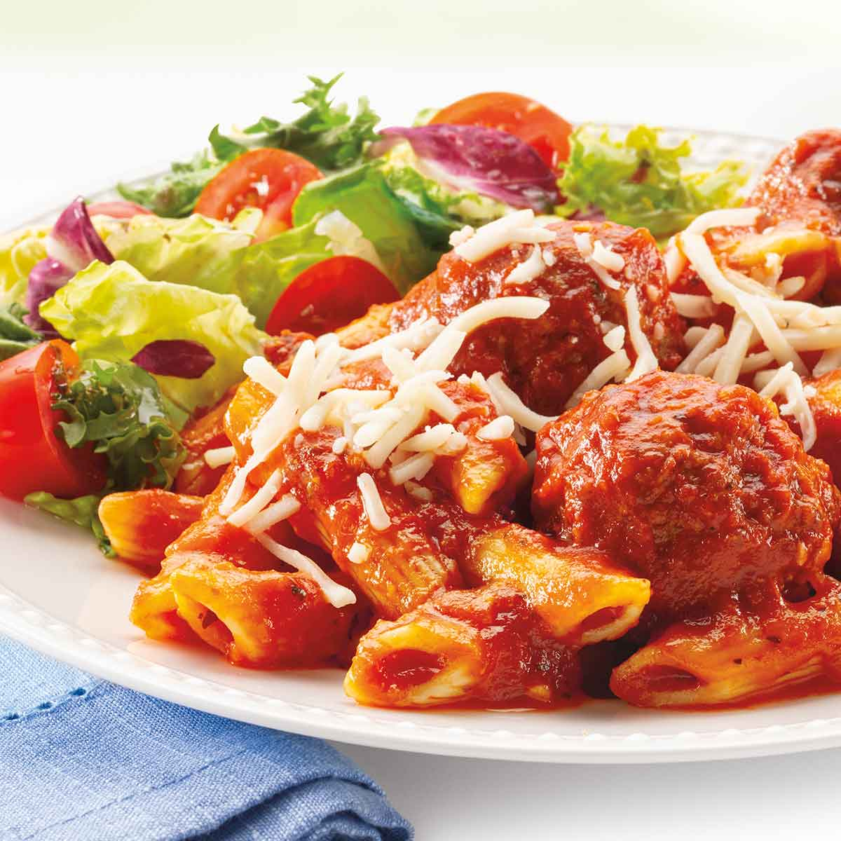 Penne with Meatballs and Salad