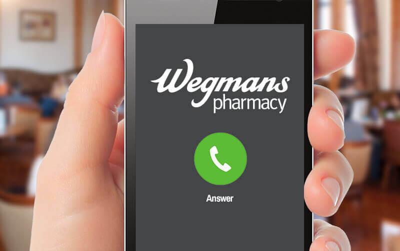 phone showing Wegmans pharmacy is calling