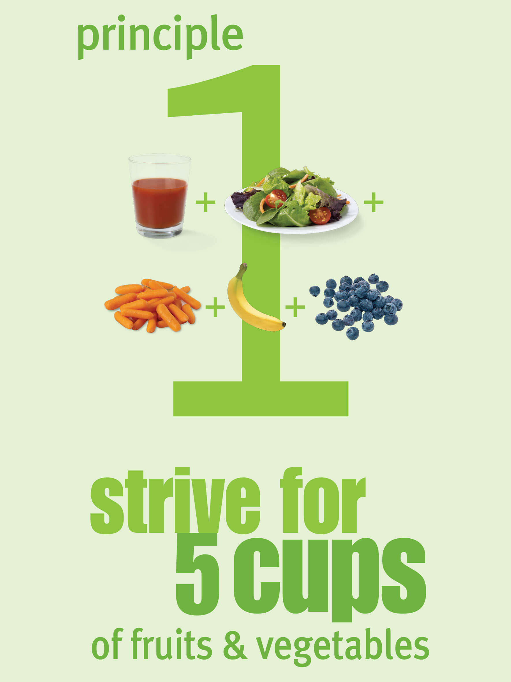 Principle 1 strive for 5 cups of fruits and vegetables