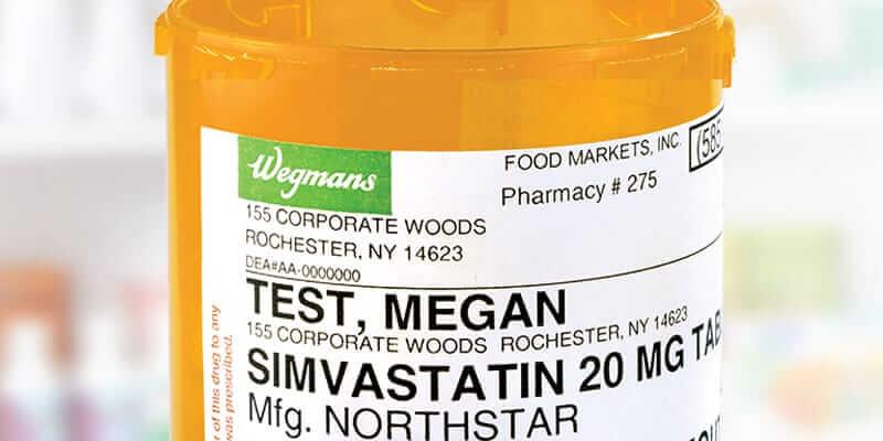Wegmans pharmacy large print prescription pill bottle label