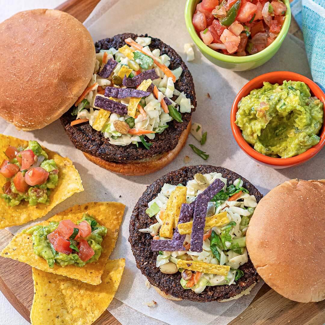 Southwest Black Bean Veggie Burger with Tortilla Chips, Guacamole & Pico de Gallo