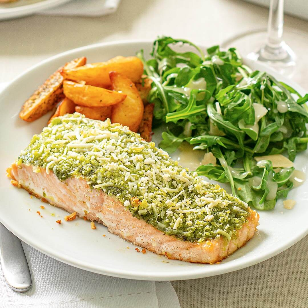 Ready to Cook Salmon with Pesto Sauce and Amore Arugula Salad & Mediterranean Potatoes