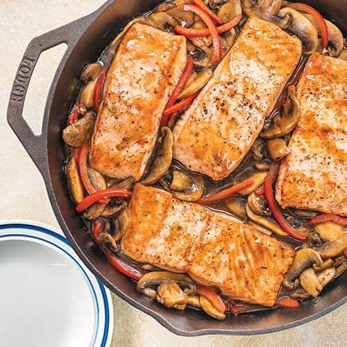 Teriyaki Salmon with Mushrooms & Peppers in a Cast Iron Skillet