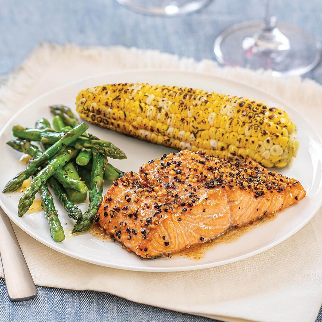 Ready to Cook Cedar Plank Salmon with Butter Boy Asparagus and Corn on the Cob