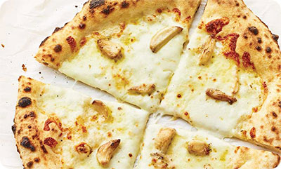 White Cheese and Roasted Garlic pizza